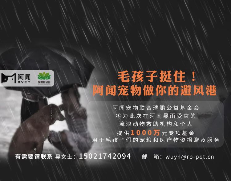 阿闻宠物联合瑞鹏公益基金会设立1000万专项基金,救助河南受灾毛孩子